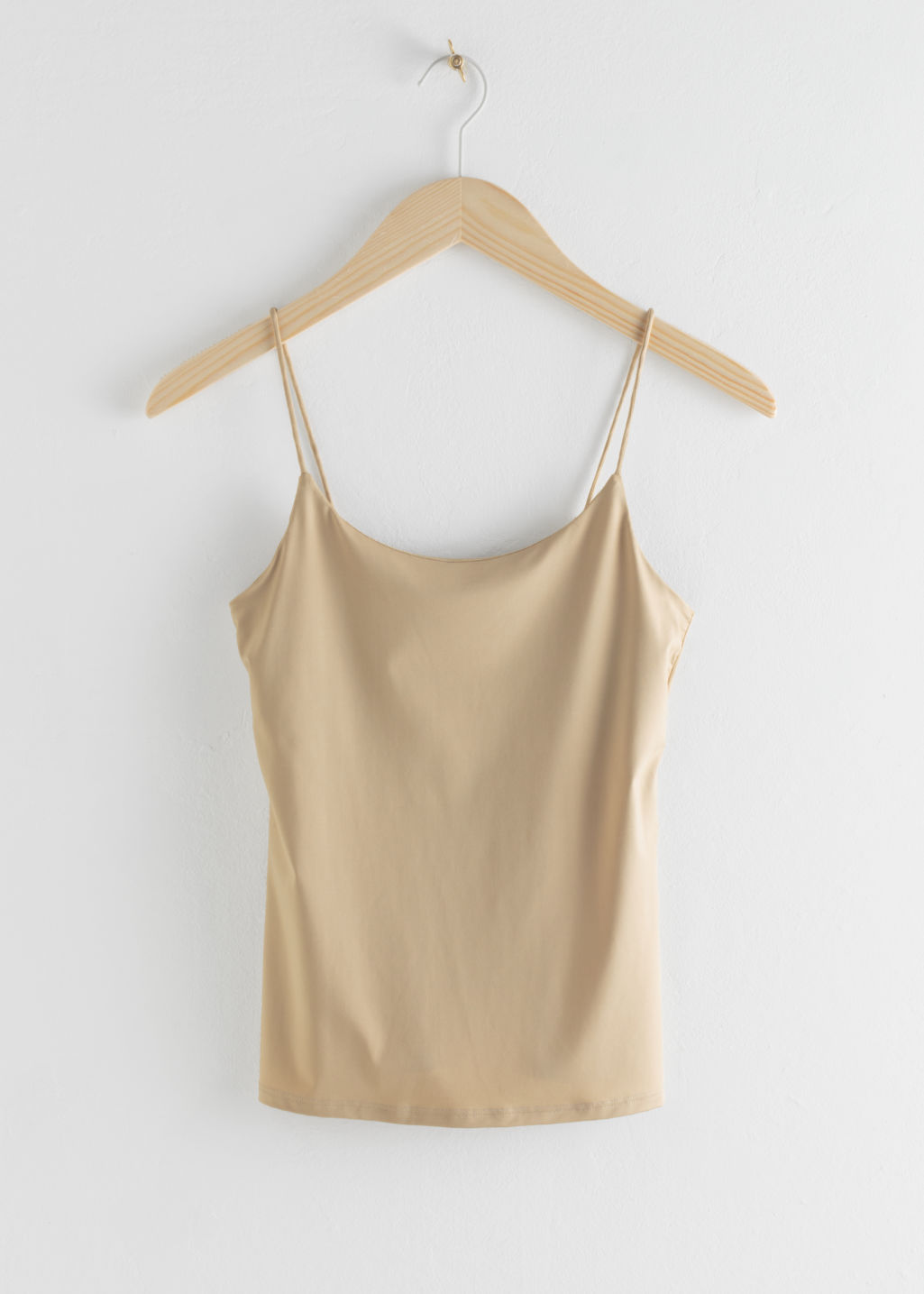 Front image of Stories micro spaghetti strap tank top in beige
