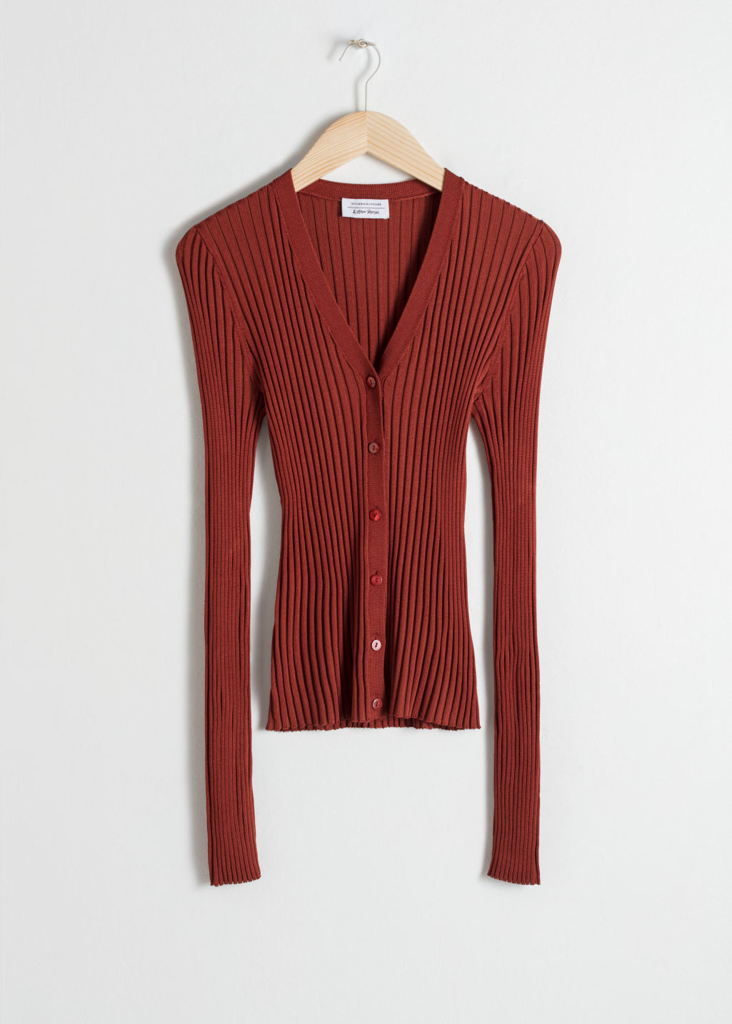 Front image of Stories fitted ribbed cardigan in red