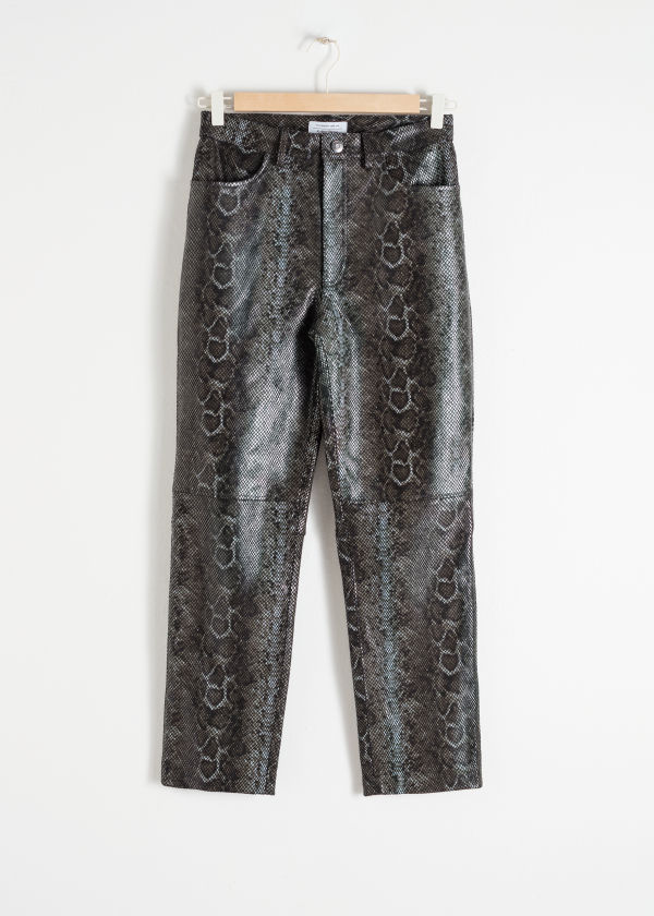 Snake Embossed Leather Trousers