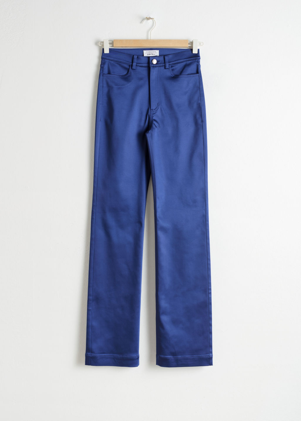 Front image of Stories high waisted satin trousers in blue