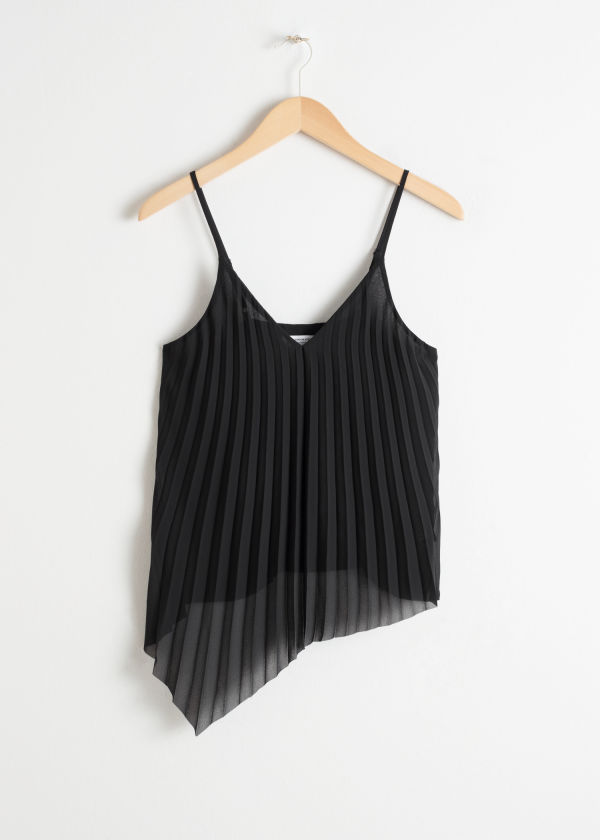 Asymmetric Pleated Chiffon Tank Top