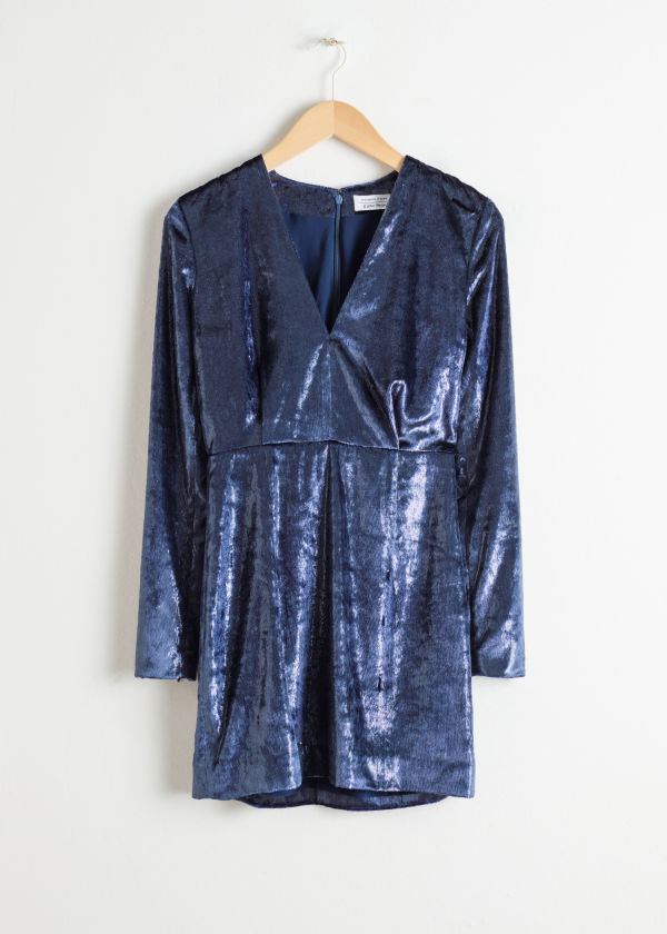 Front image of Stories shimmer velvet mini dress in blue