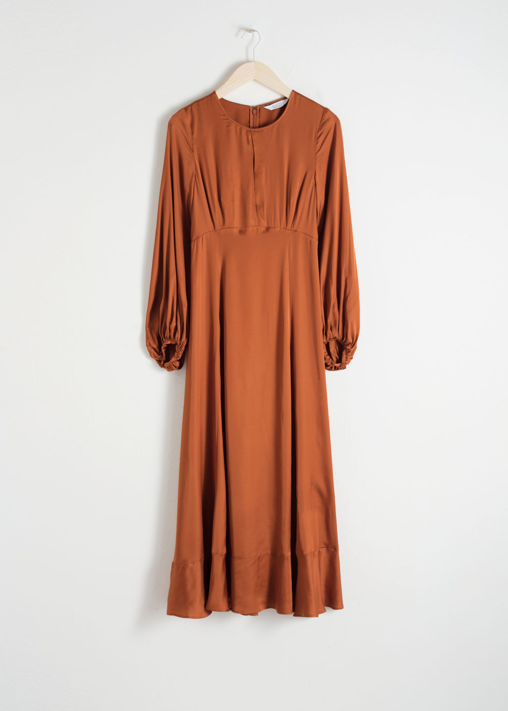 Front image of Stories balloon sleeve midi dress in orange