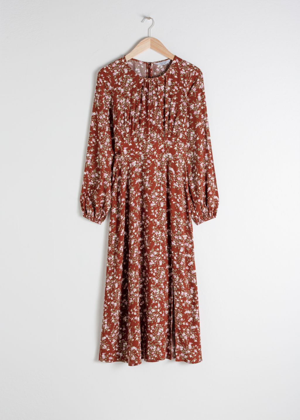 StillLife Front Image of Stories Floral Long Sleeve Midi Dress in Orange