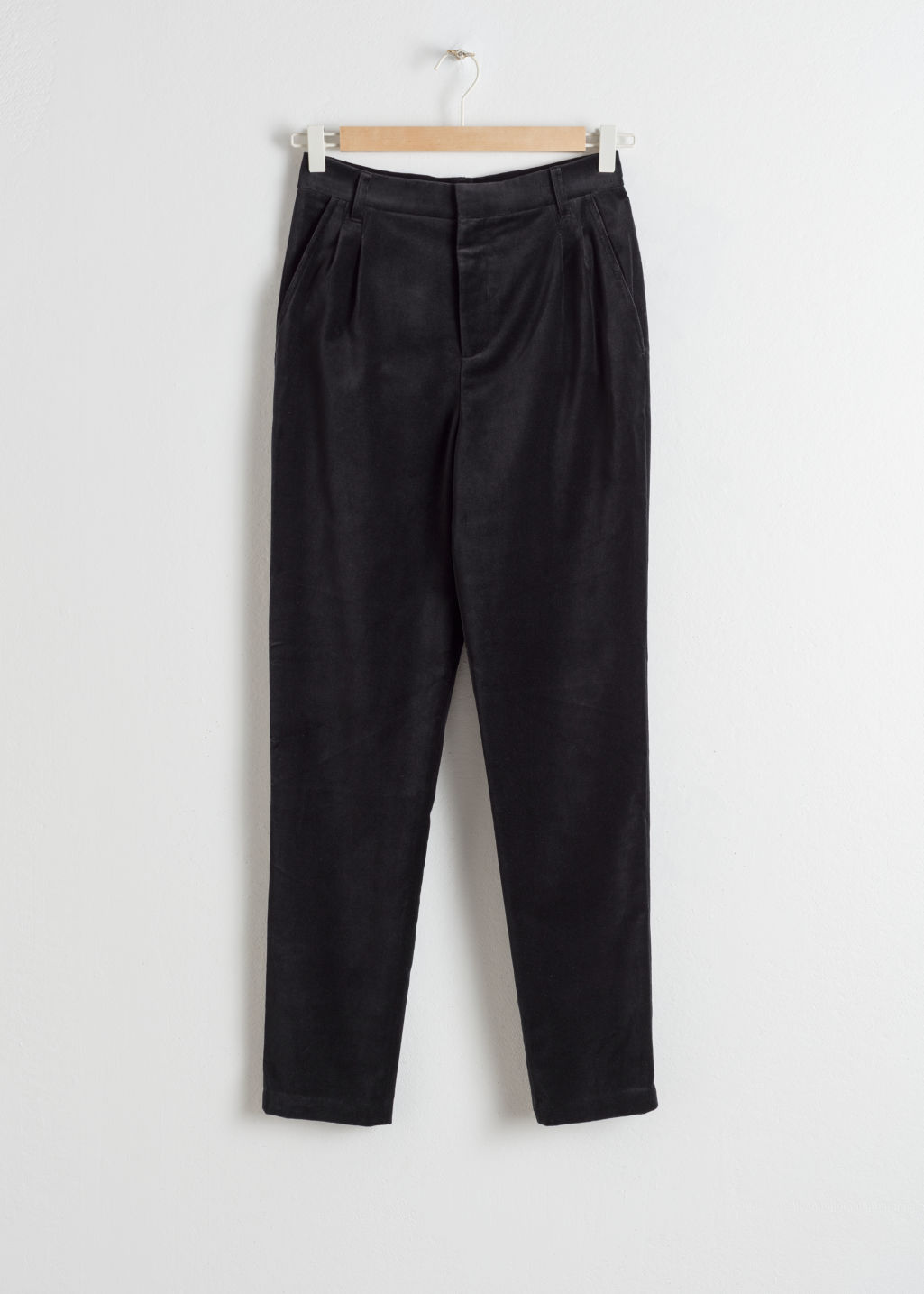 Front image of Stories high waisted velvet trousers in black