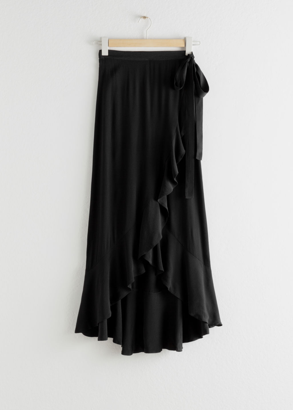 Front image of Stories ruffle wrap maxi skirt in black