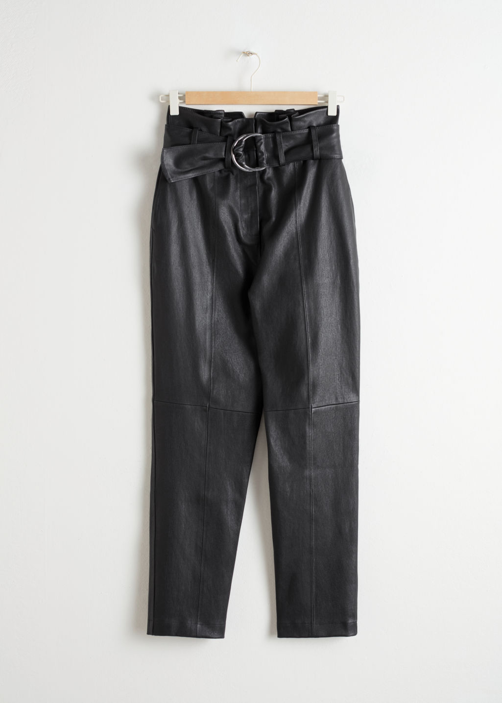 StillLife Front Image of Stories Paperbag Waist Leather Trousers in Black