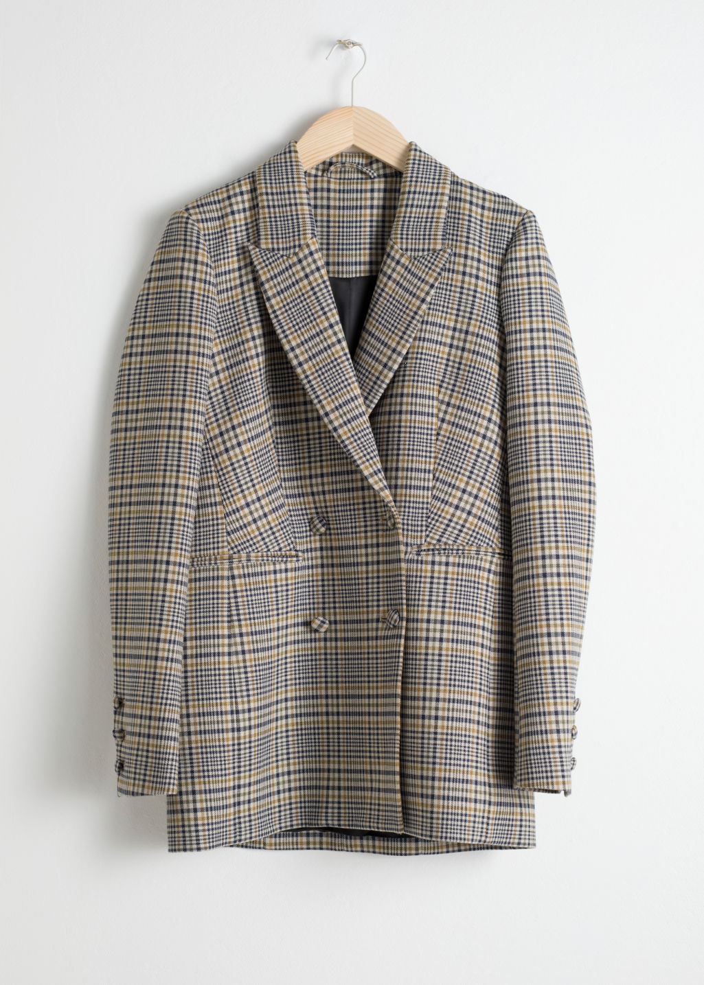 Front image of Stories oversized structured plaid blazer in grey