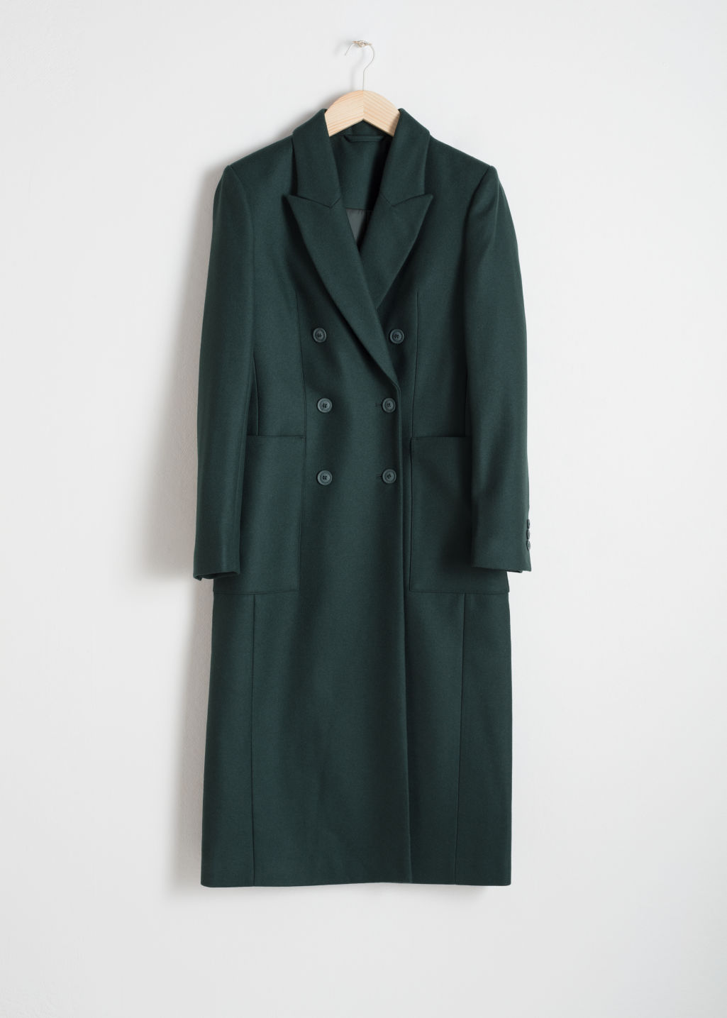 Front image of Stories wool blend double breasted coat in green