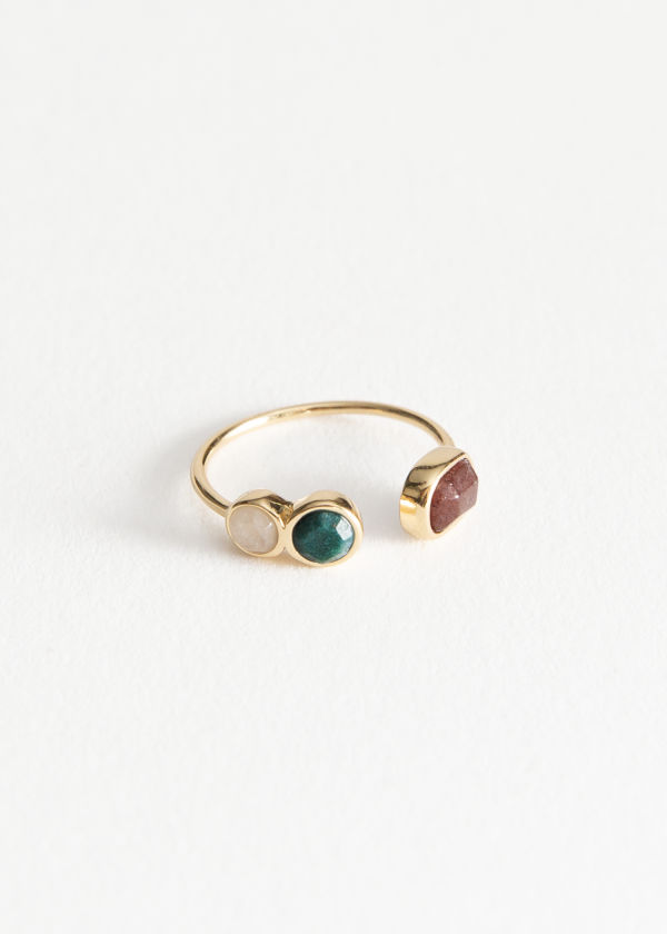 Front image of Stories trio stone ring in green