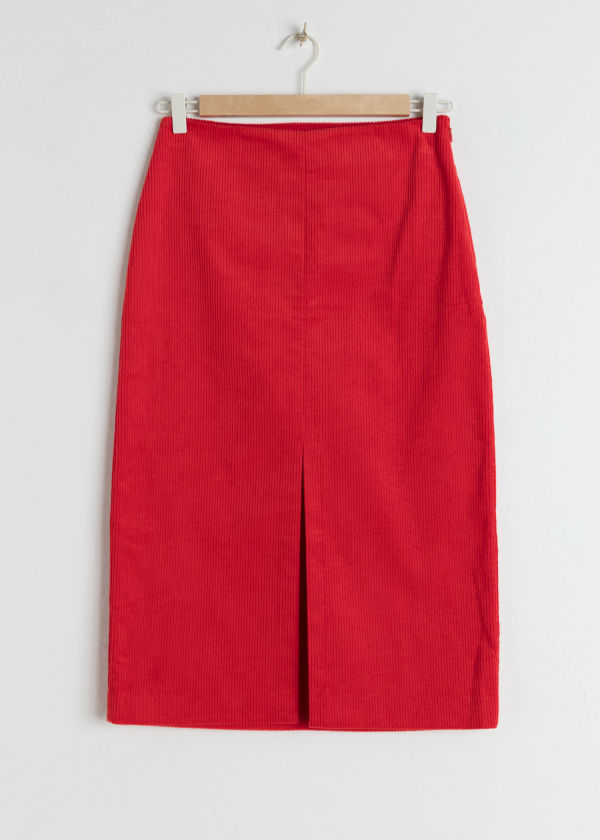 Front image of Stories front slit corduroy midi skirt in red