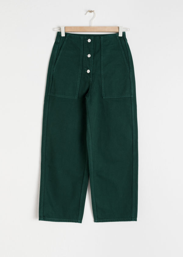 Front image of Stories straight fit workwear trousers in green