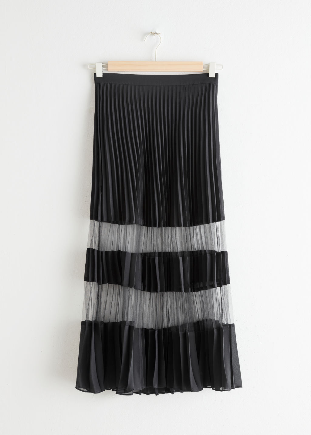 Front image of Stories pleated mesh stripe midi skirt in black