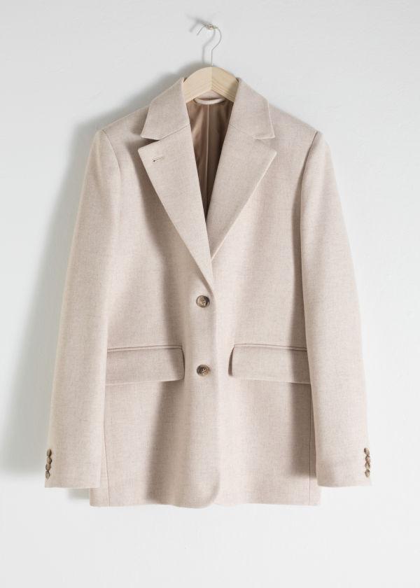 28c714a2f462 Wool Blend Oversized Blazer Wool Blend Oversized Blazer
