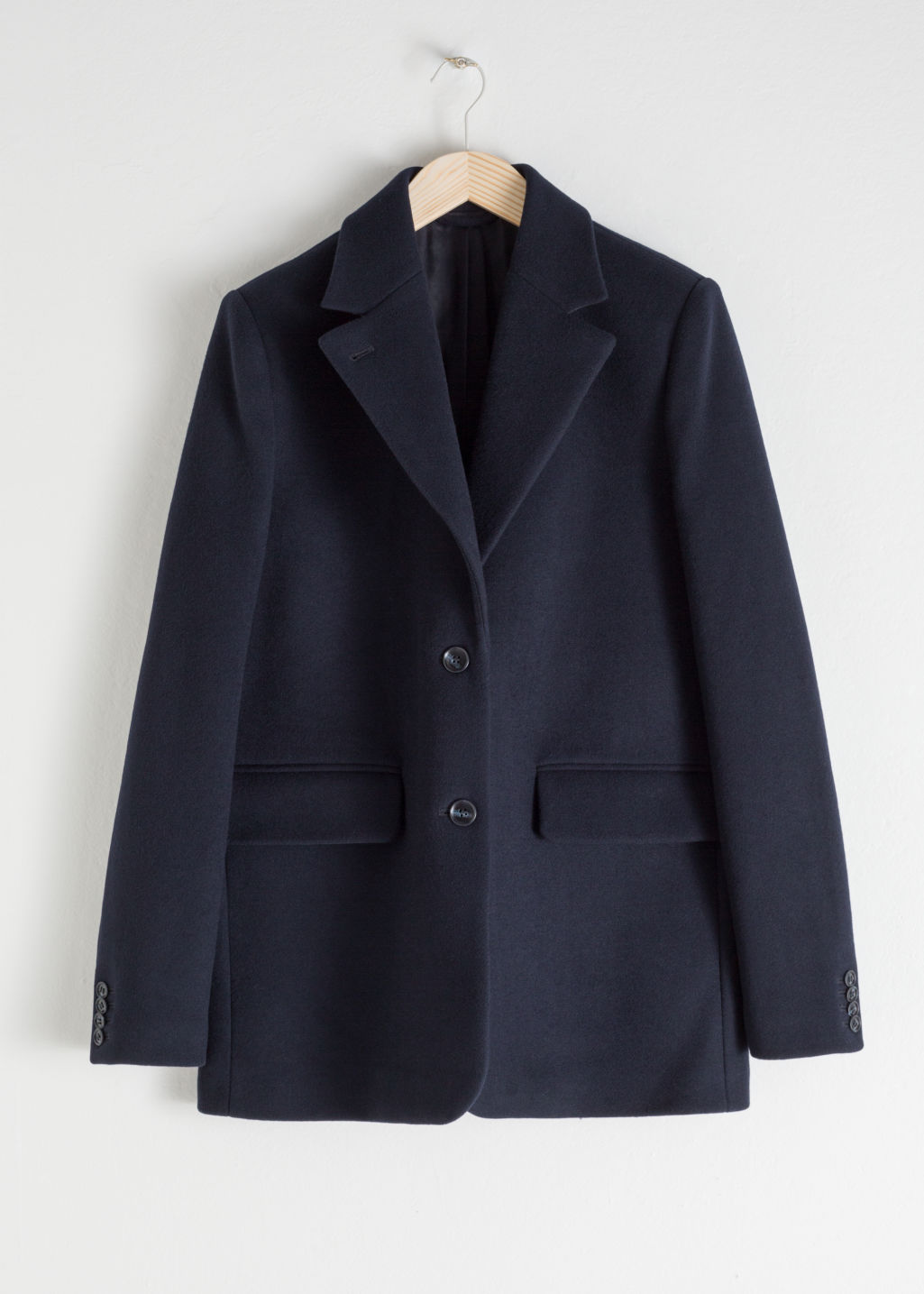Front image of Stories wool blend oversized blazer in blue