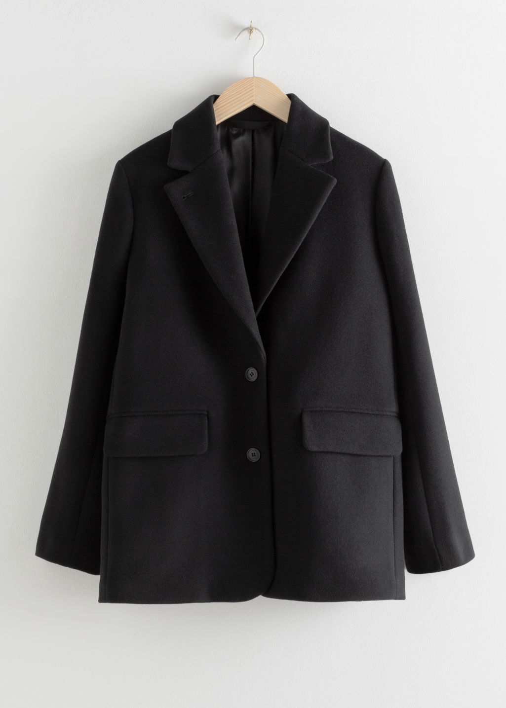 Front image of Stories wool blend oversized blazer in black