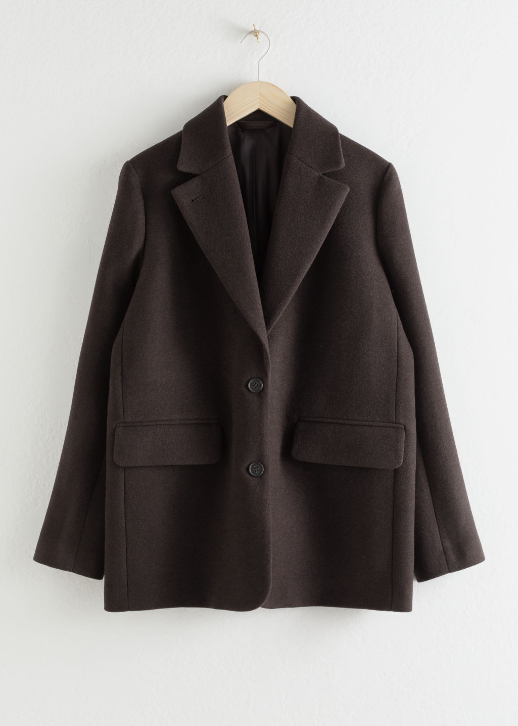 Front image of Stories wool blend oversized blazer in brown