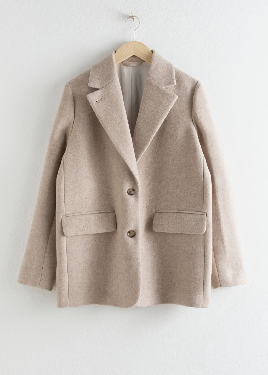 lowest price 2d4d3 a1989 Wool Blend Oversized Blazer - Light Beige - Blazers - & Other Stories