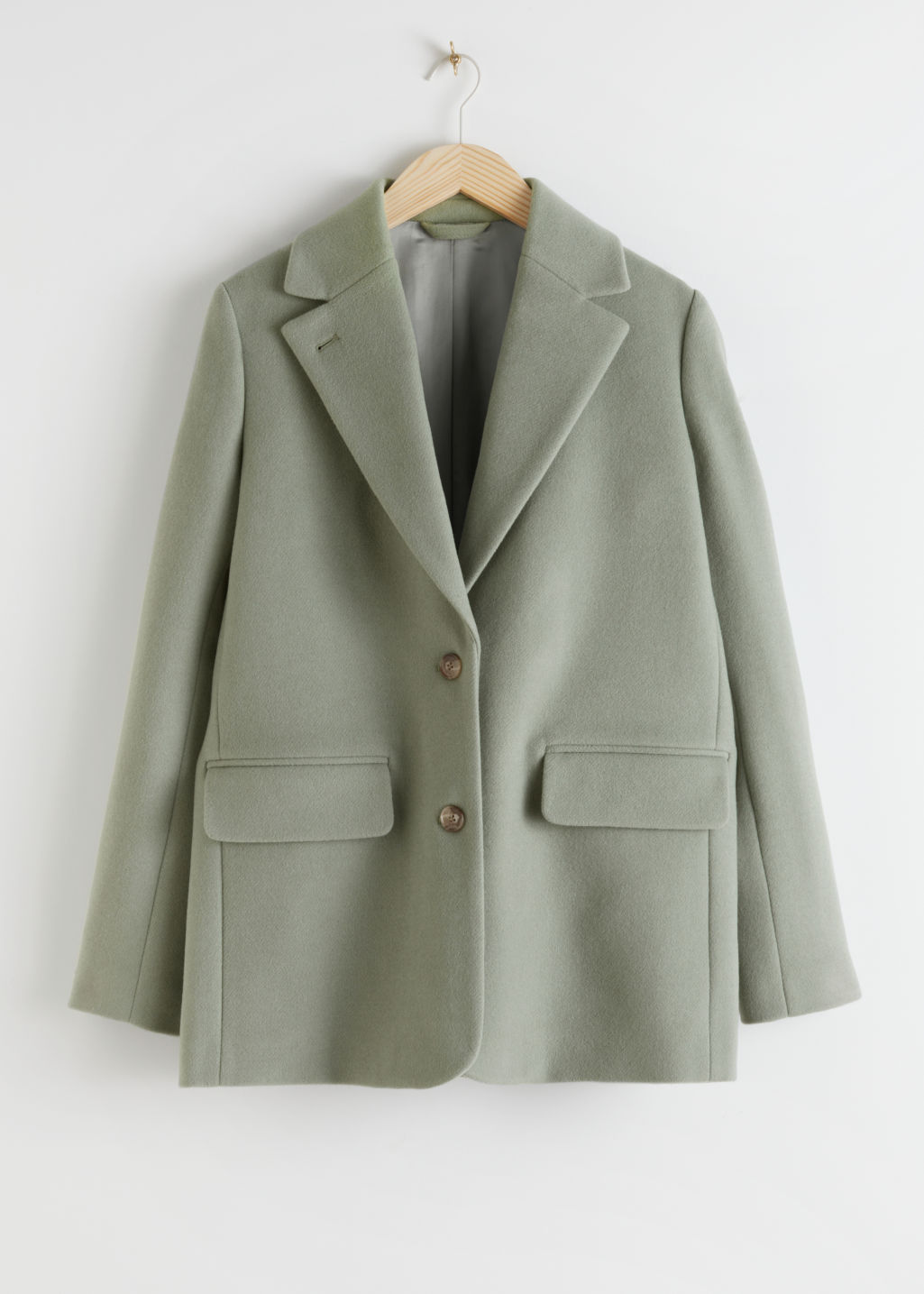 Front image of Stories wool blend oversized blazer in green