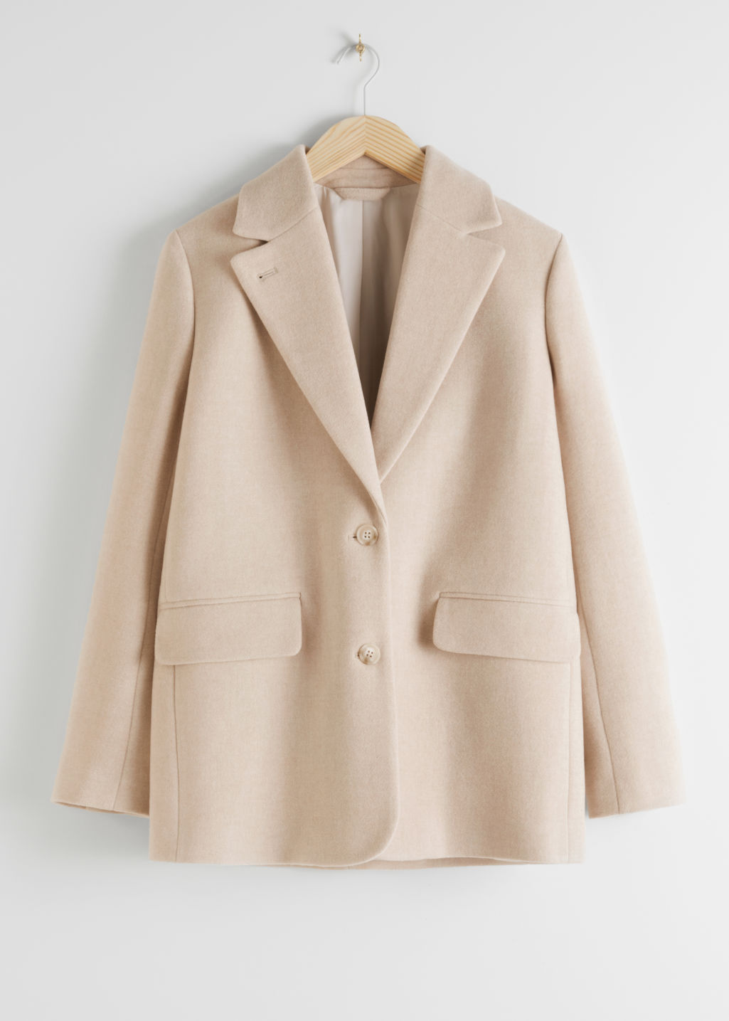 Front image of Stories wool blend oversized blazer in beige