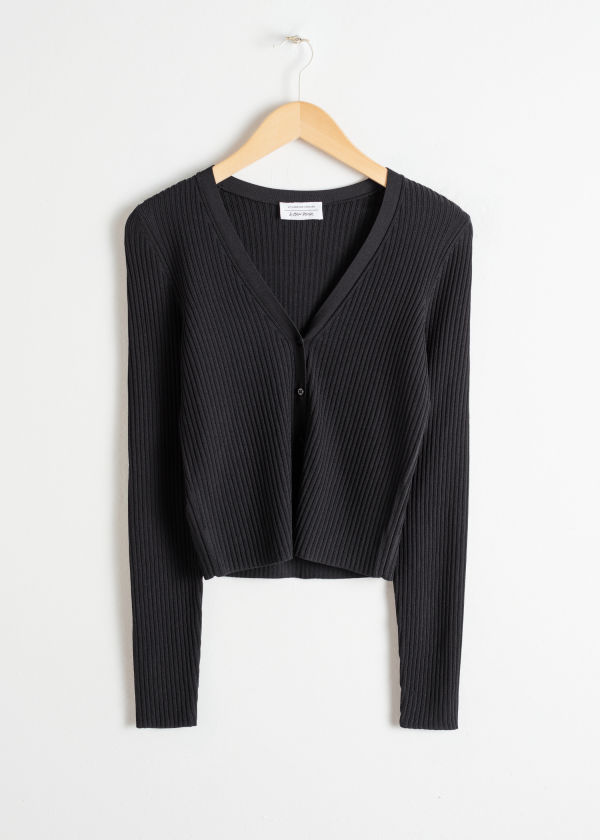 Rib Knit Cropped Cardigan