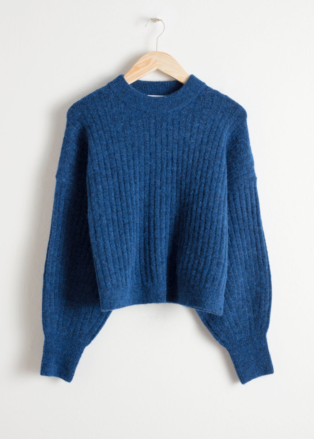 Front image of Stories alpaca blend knit sweater in blue