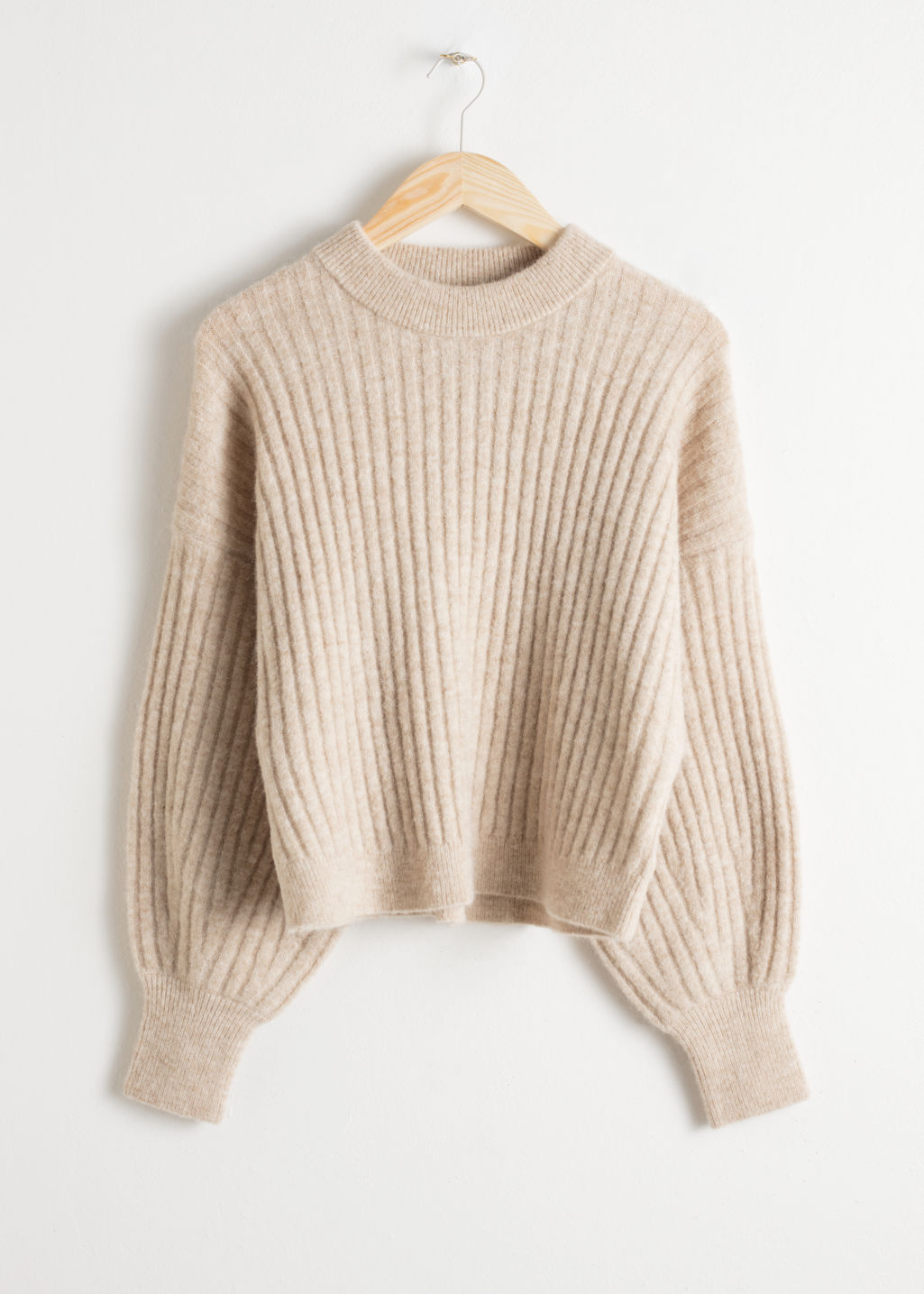 Front image of Stories alpaca blend knit sweater in beige