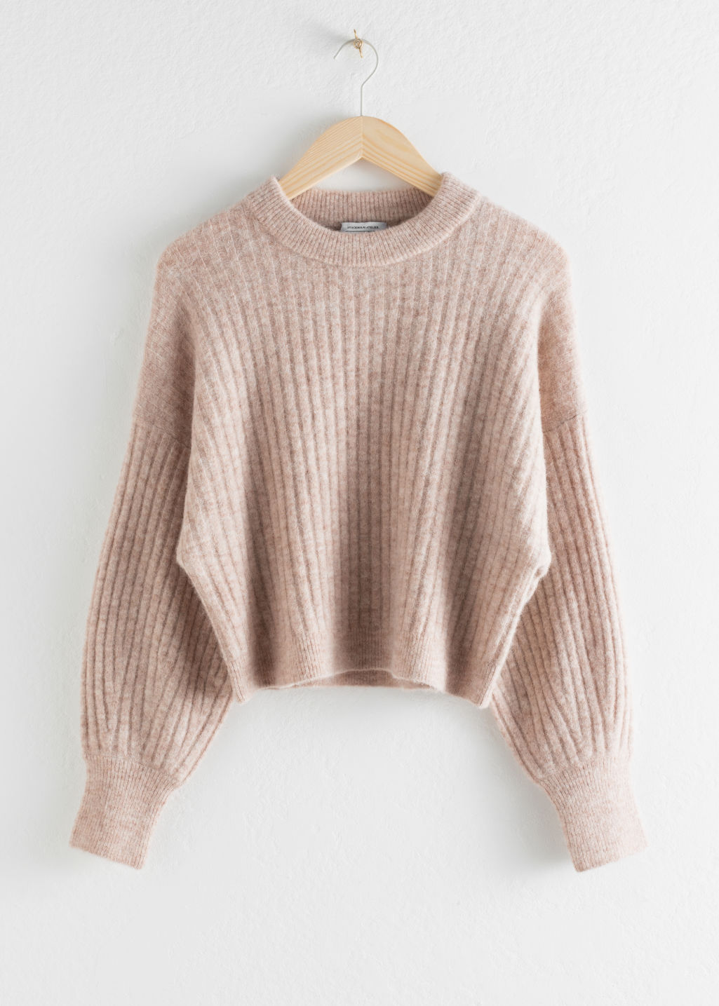 Front image of Stories alpaca blend knit sweater in brown