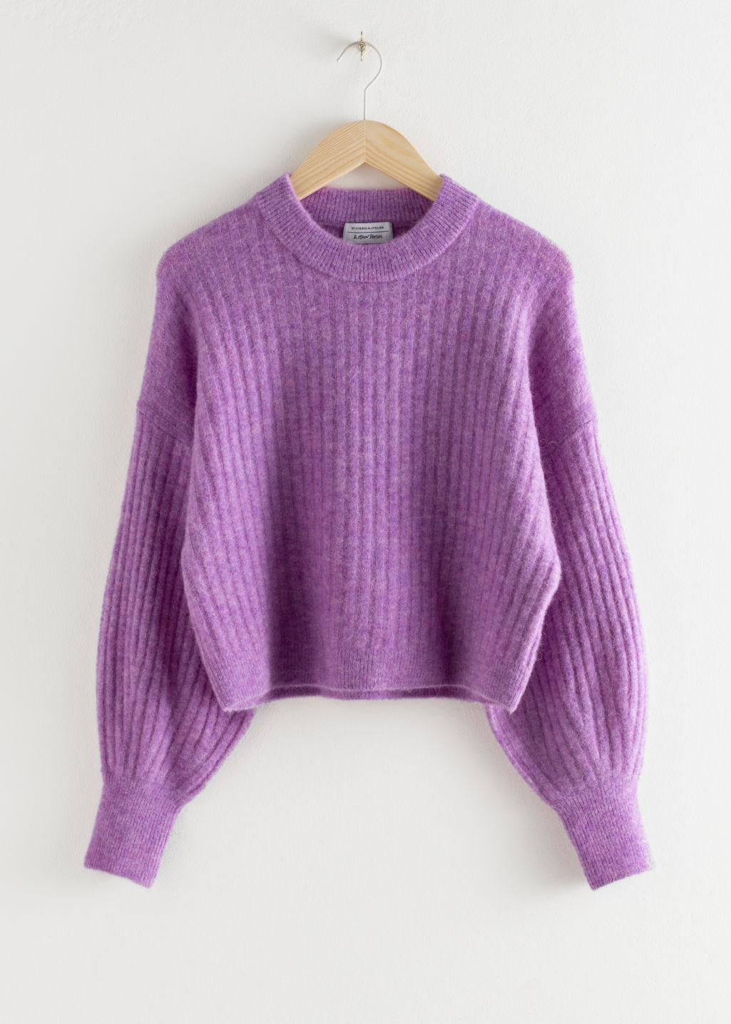 Front image of Stories alpaca blend knit sweater in purple