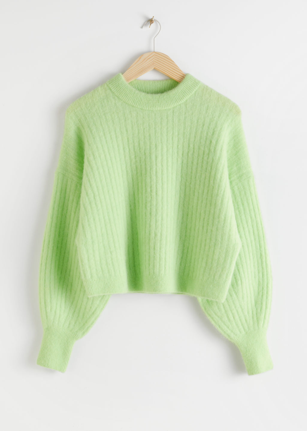 Front image of Stories alpaca blend knit sweater in green