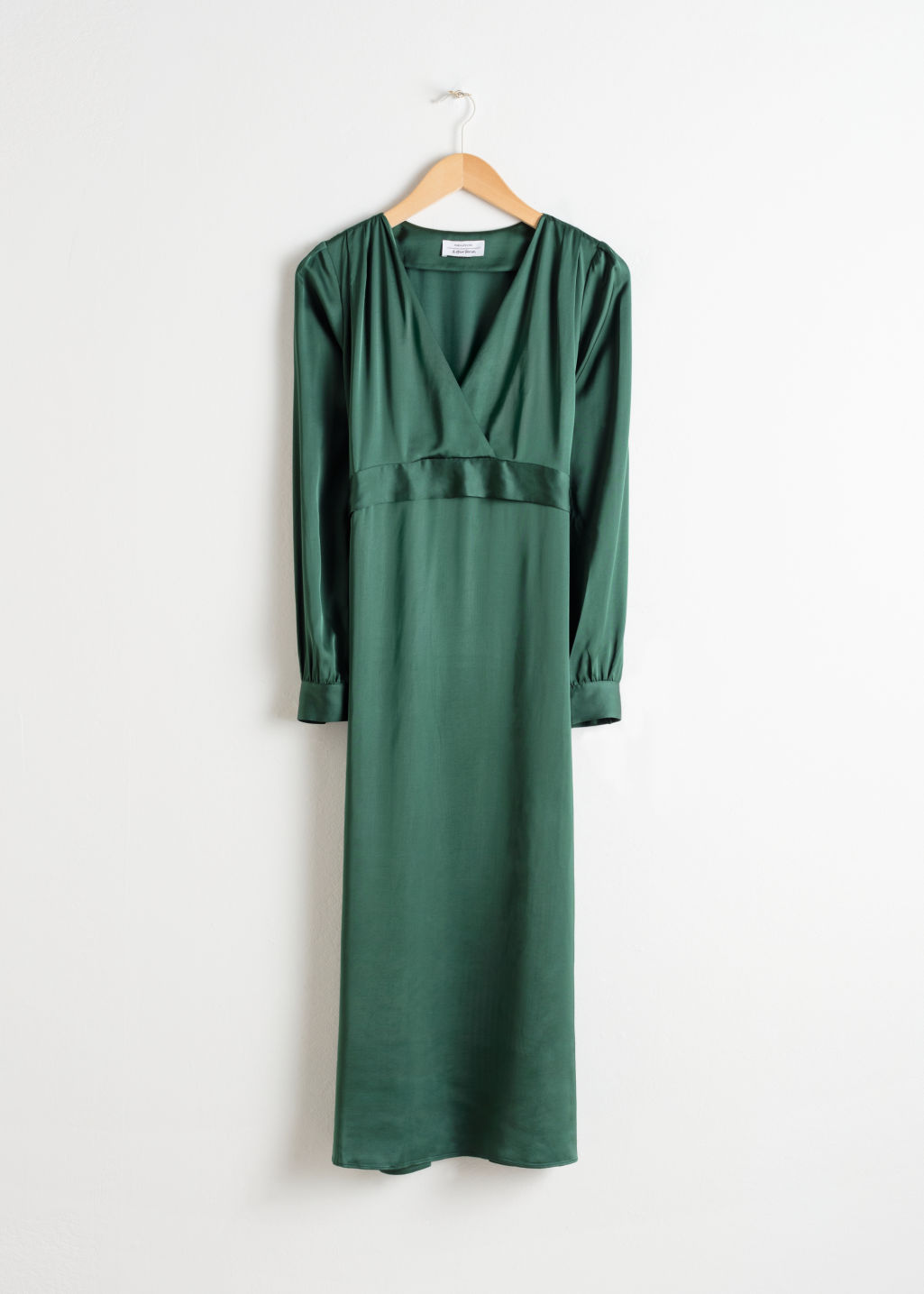 Front image of Stories plunging ruched midi dress in green