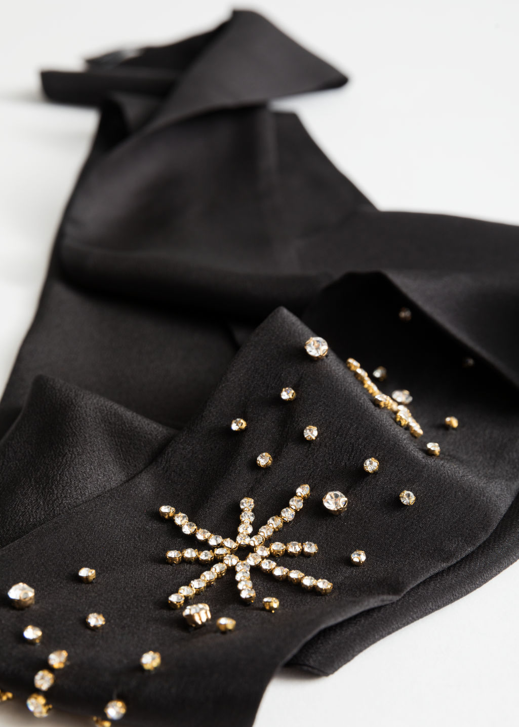 Back image of Stories jewelled silk ribbon scarf in black