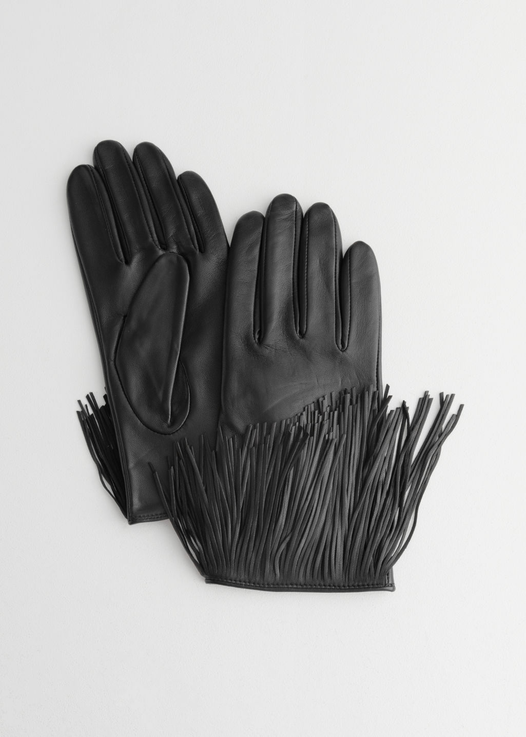 StillLife Front Image of Stories Leather Fringe Gloves in Black
