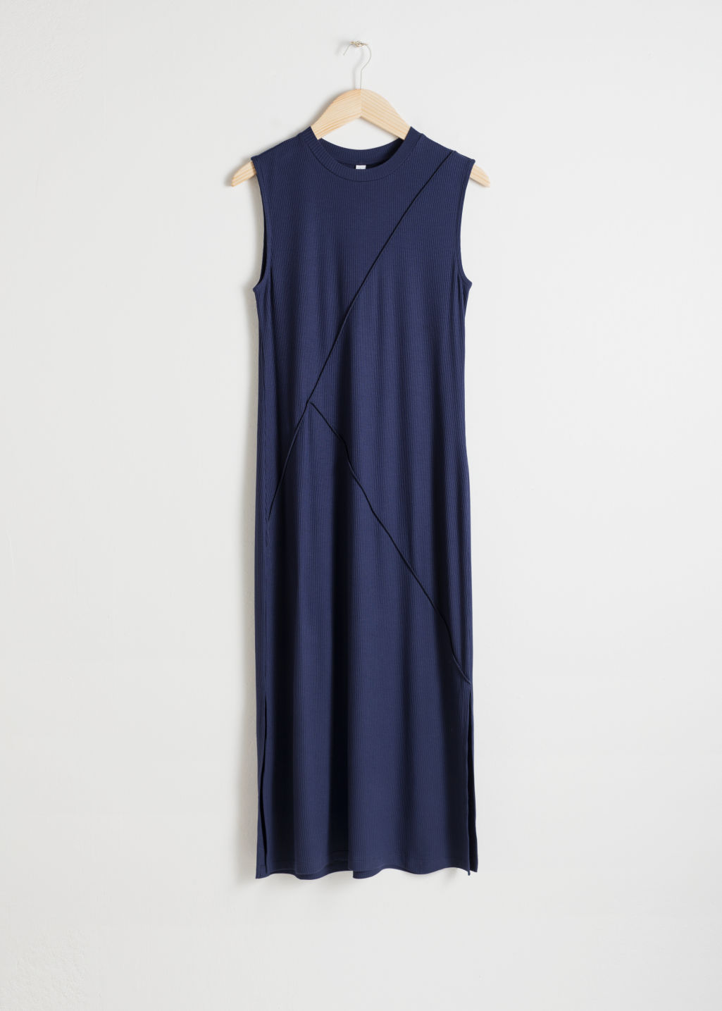 Front image of Stories angled seam midi dress in blue