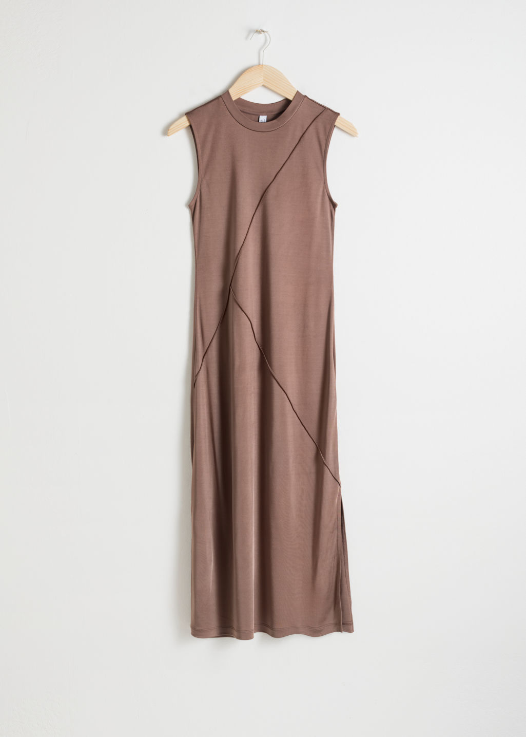 Front image of Stories angled seam midi dress in beige
