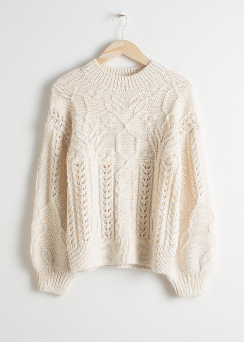 Floral Cable Knit Sweater - Cream - Sweaters - & Other Stories