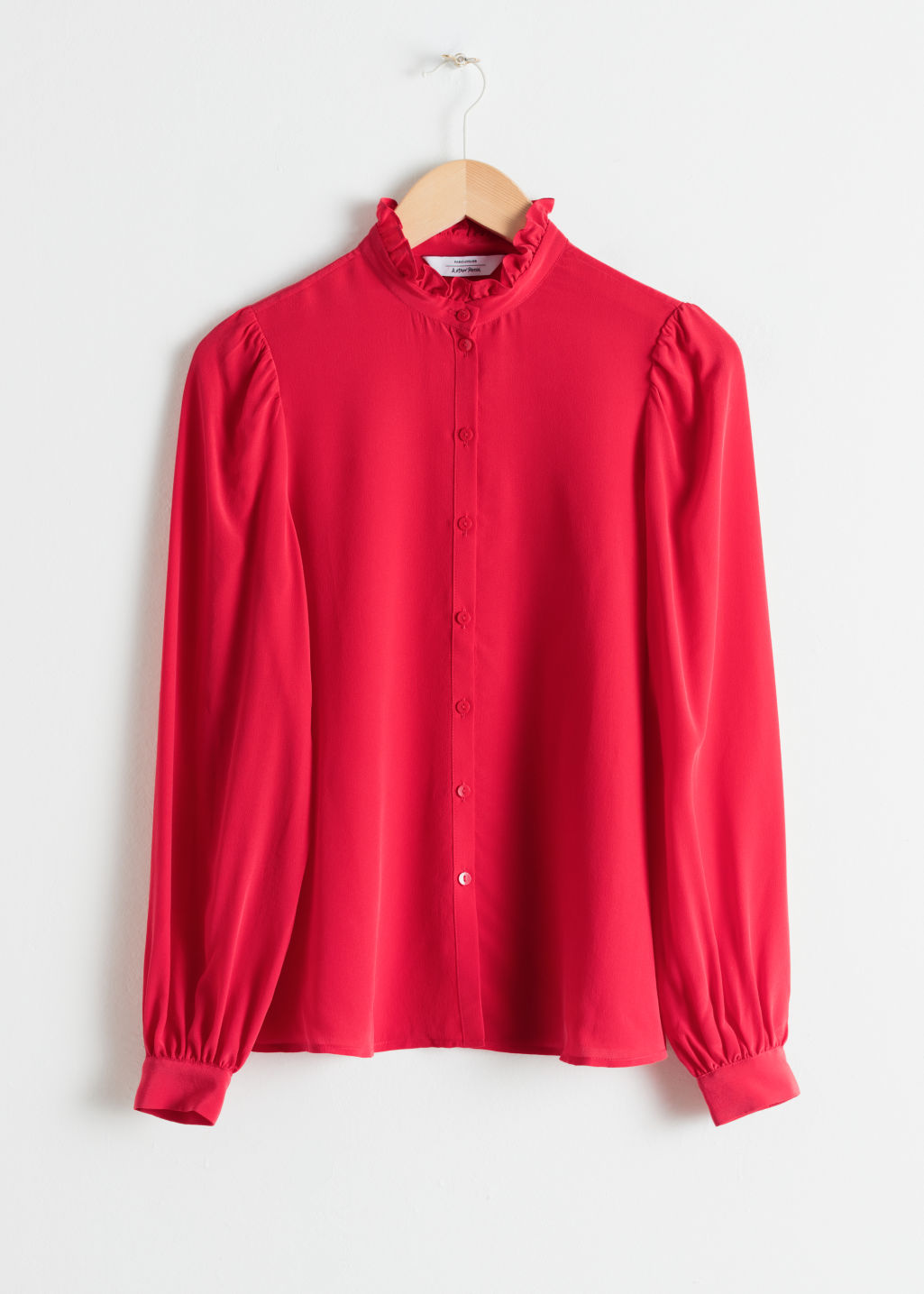 StillLife Front Image of Stories Ruffle Collar Silk Shirt in Red