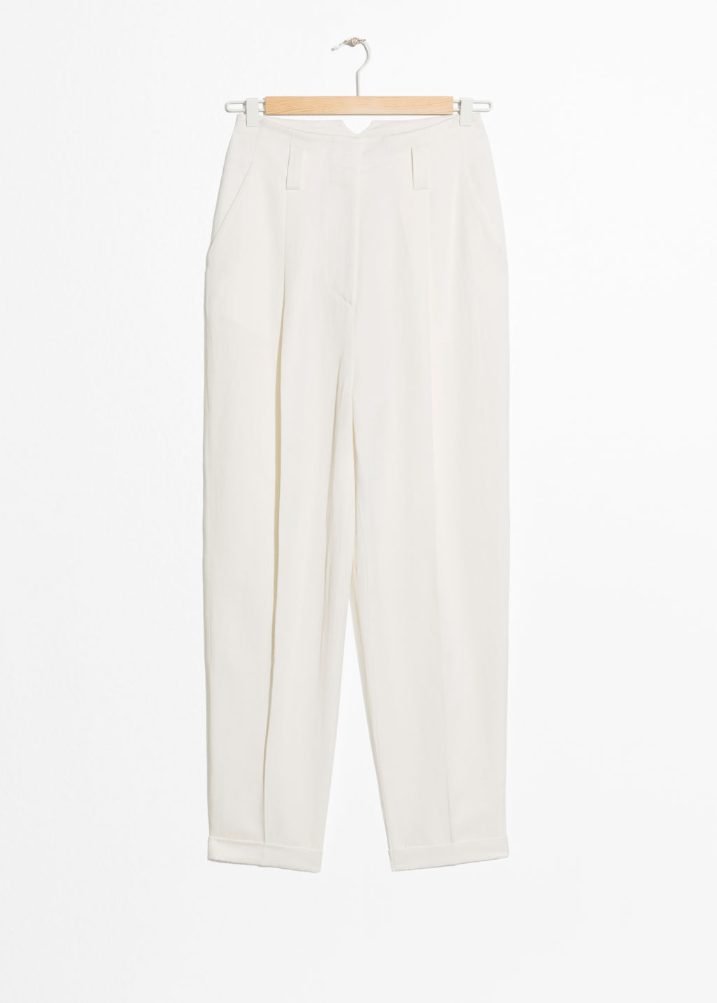 6198b08b7f4 Tapered Linen Blend Pants - White - Ivory Capsule -   Other Stories