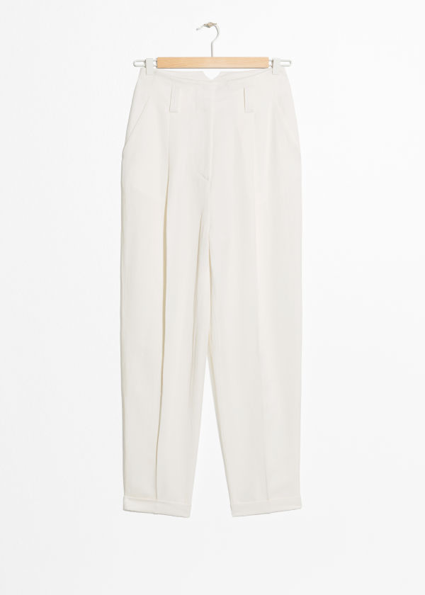 Tapered Linen Blend Pants
