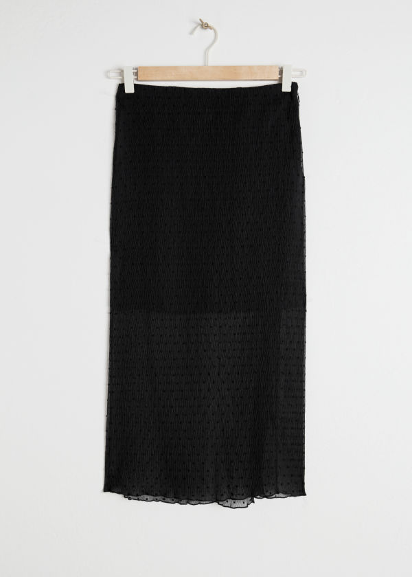 Sheer Crepe Polka Dot Midi Skirt