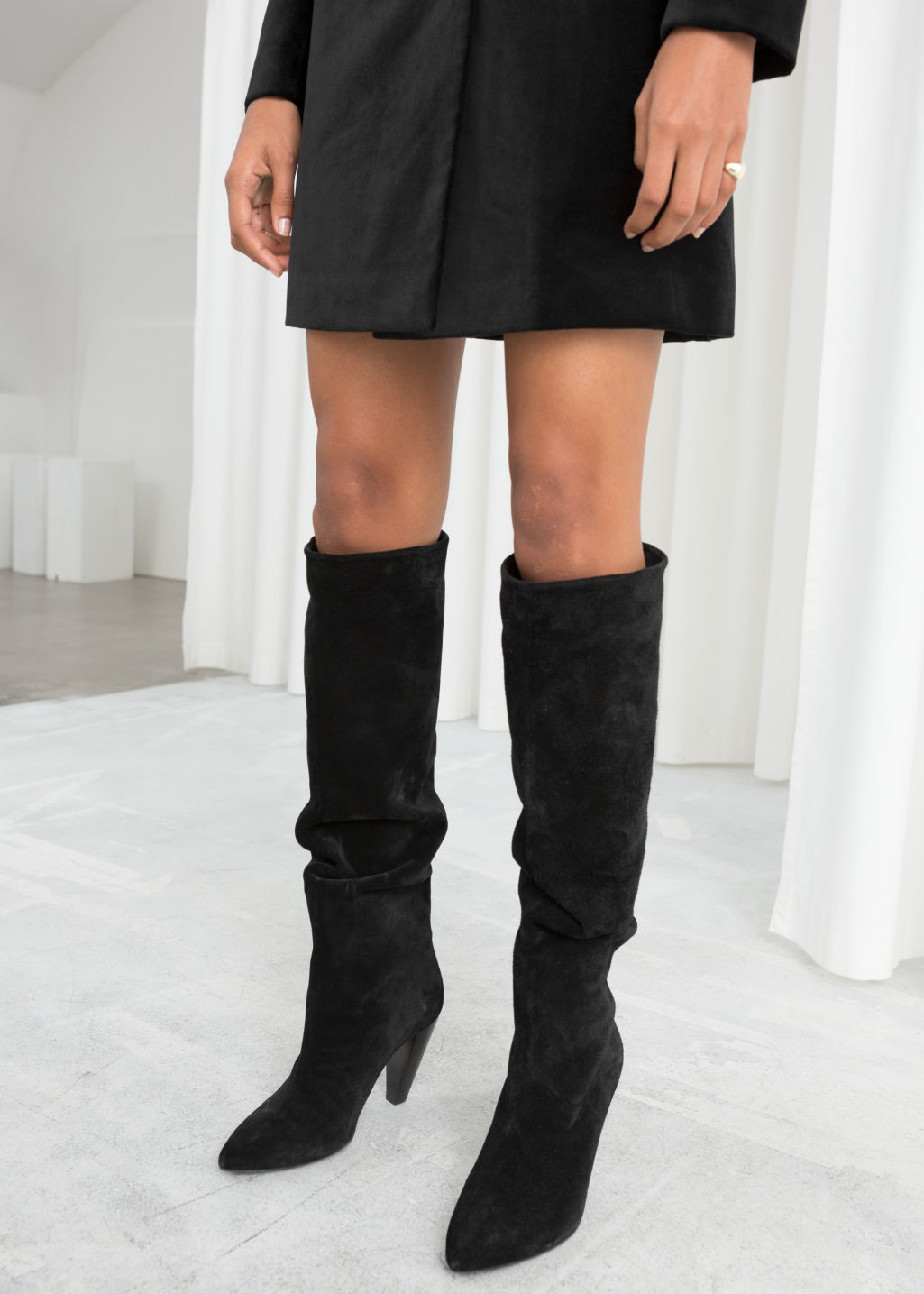 33afc2509e6 Knee High Suede Boots - Black - Knee high boots - & Other Stories