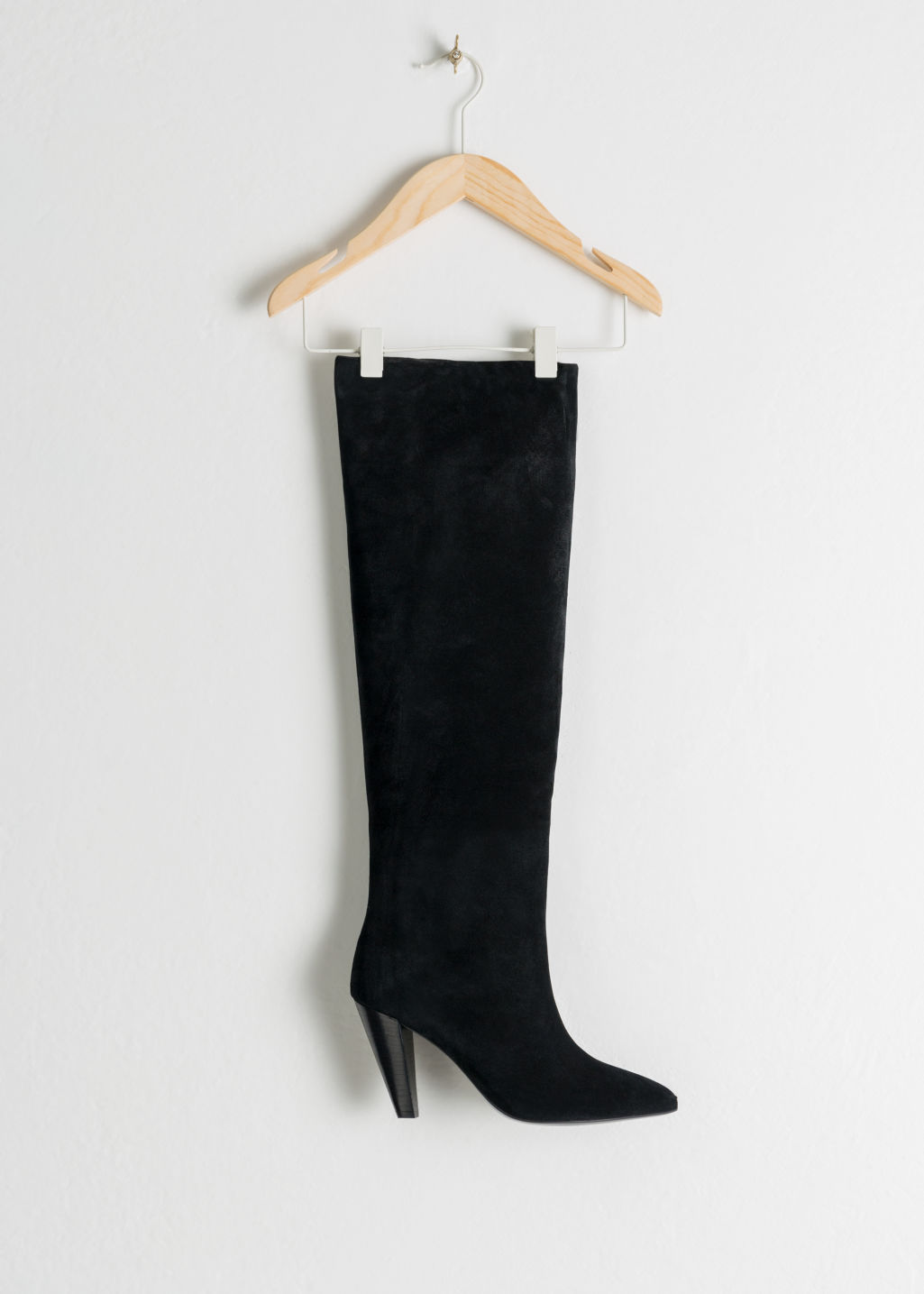 Back image of Stories knee high suede boots in black