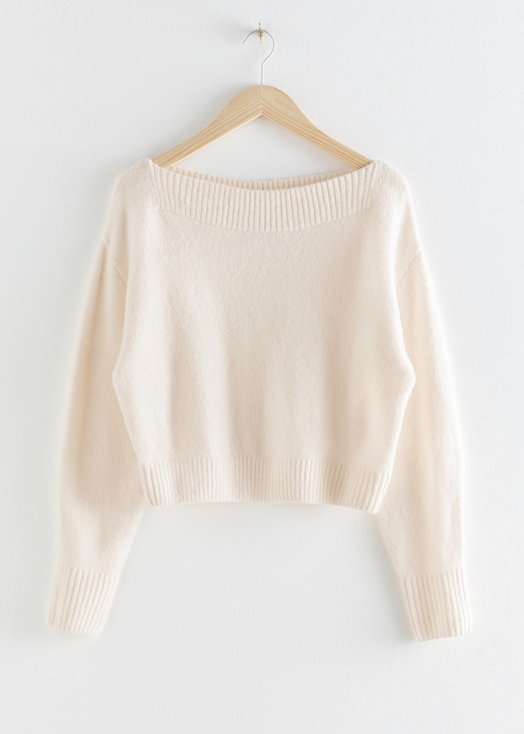 Front image of Stories boatneck knit sweater in white