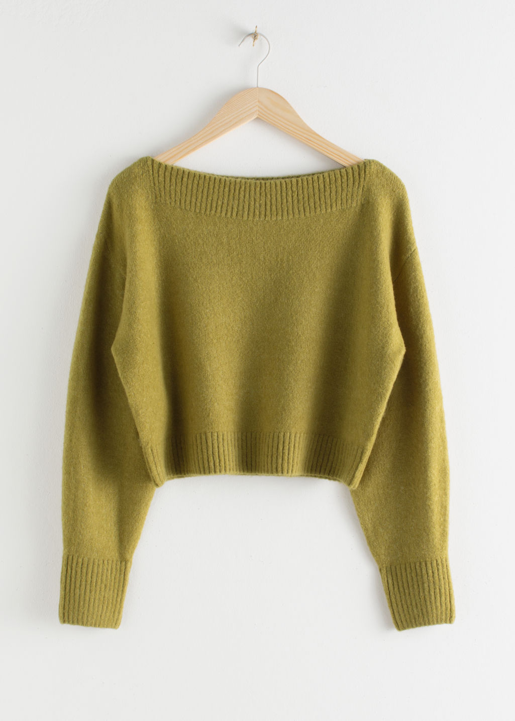 Front image of Stories boatneck knit sweater in yellow