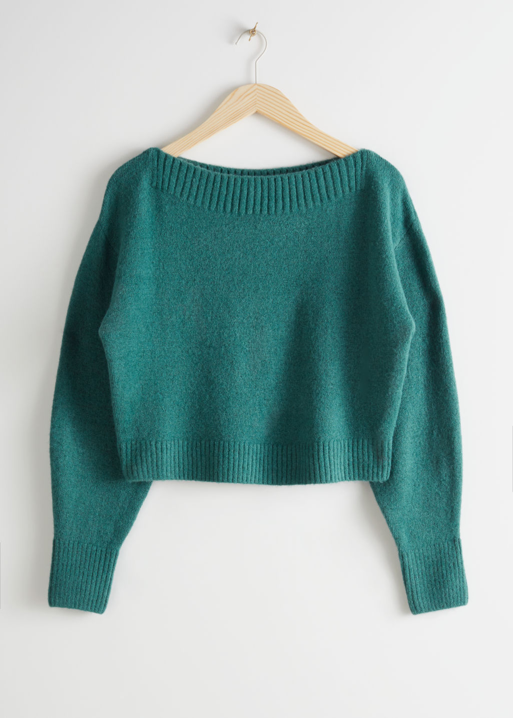 Front image of Stories boatneck knit sweater in green