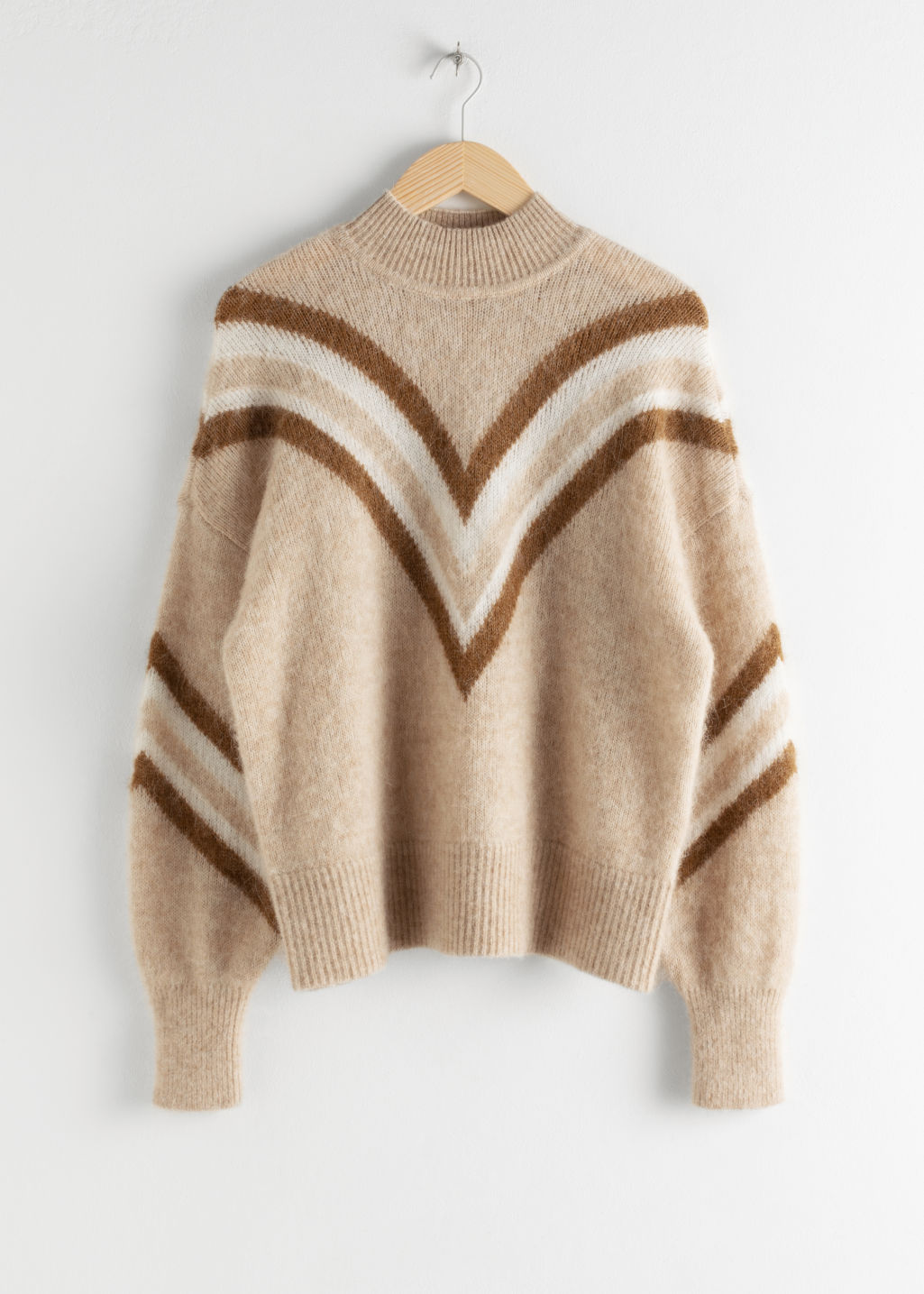 Front image of Stories mock neck varsity stripe sweater in beige