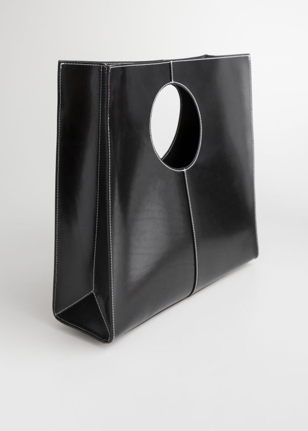Structured Leather Square Tote