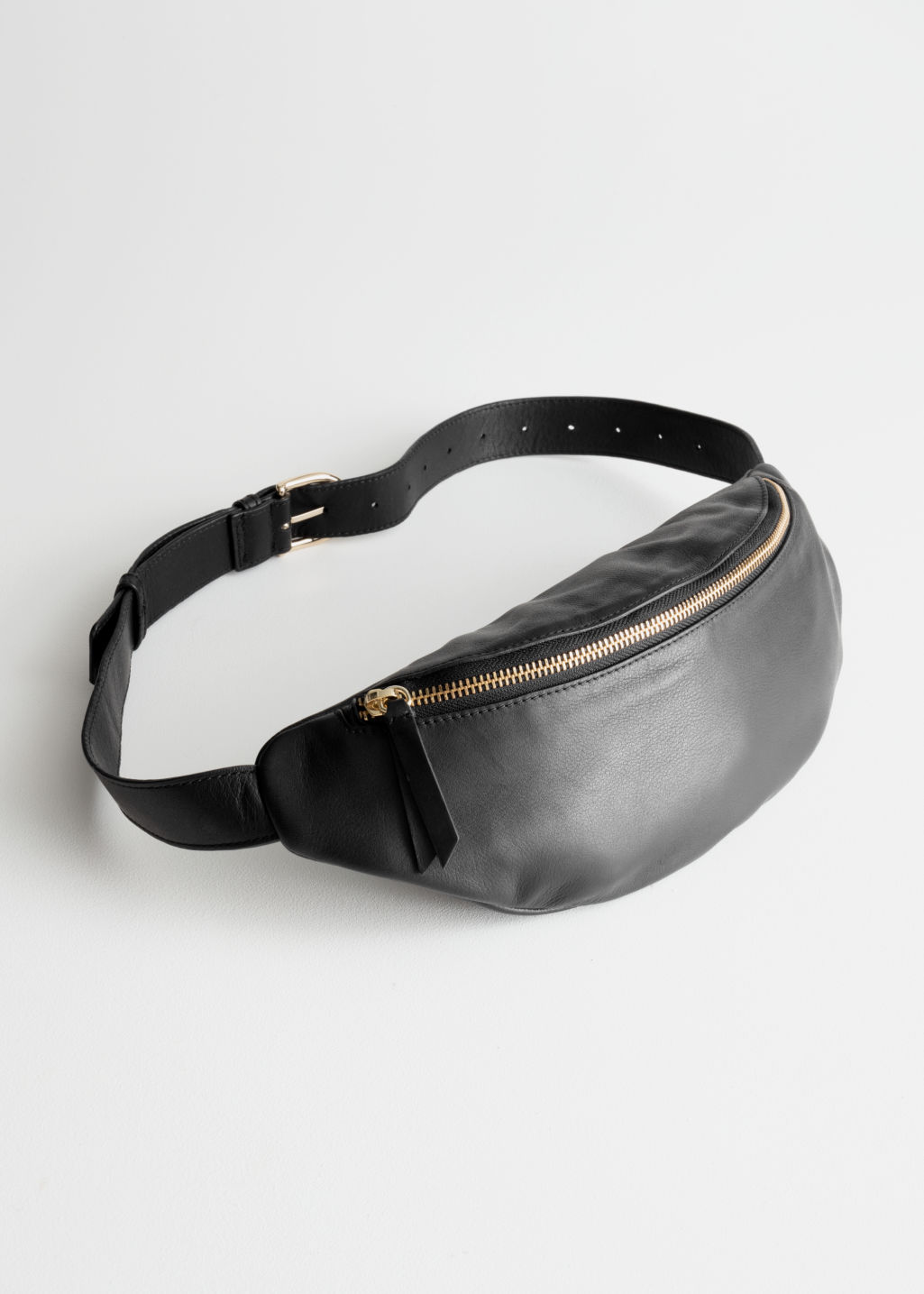 StillLife Front Image of Stories Leather Belt Bag in Black