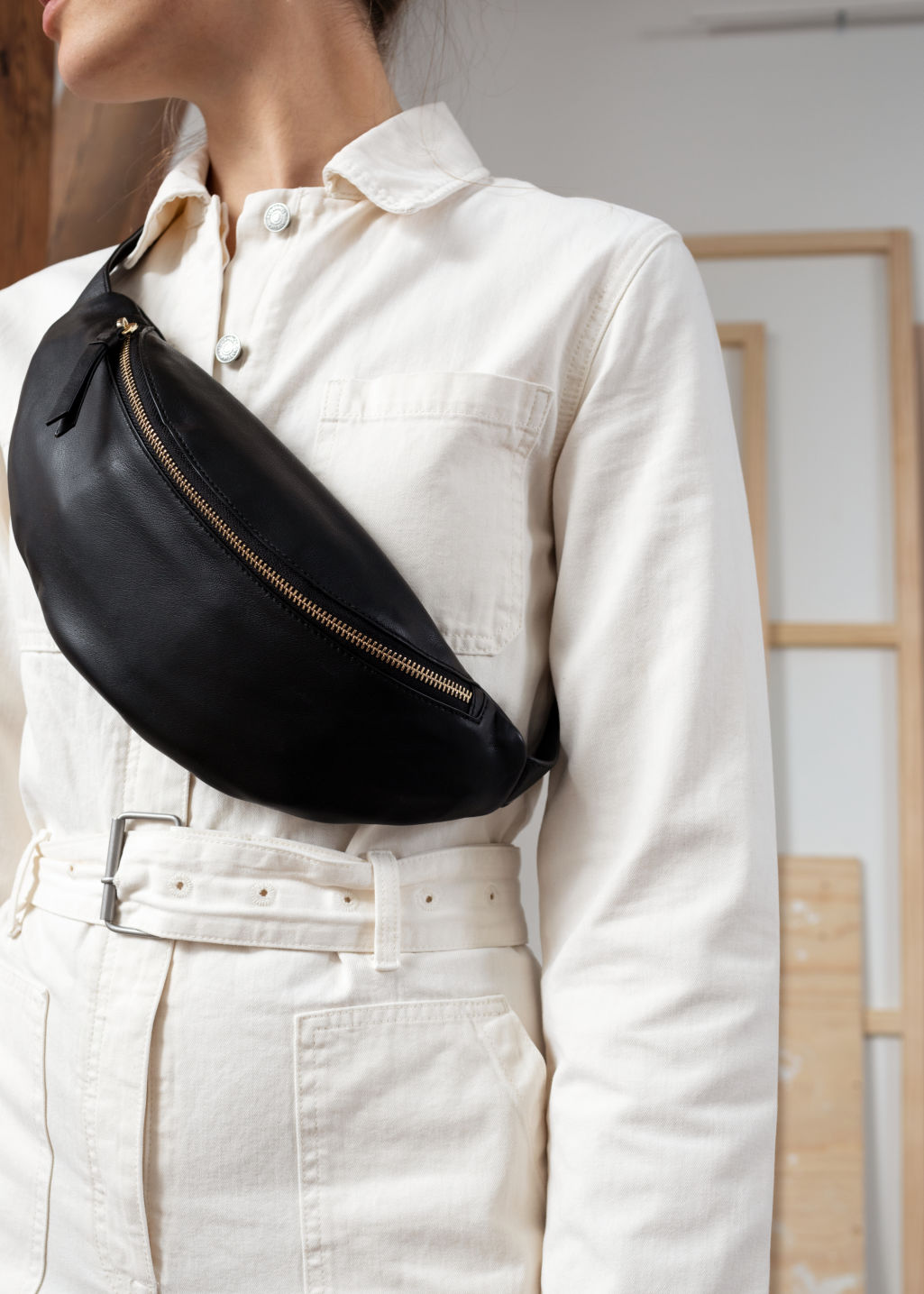 Back image of Stories leather beltbag in black