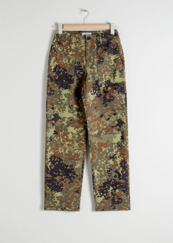 Front image of Stories cropped twill workwear trousers in green